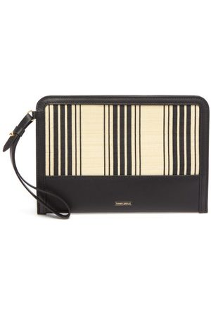 Tanner Krolle - Striped Canvas And Leather Zipped Pouch - Womens