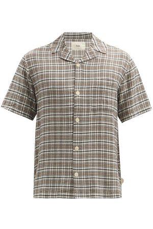 Folk Men Short sleeves - Cuban-collar Check Short-sleeved Shirt - Mens - Multi