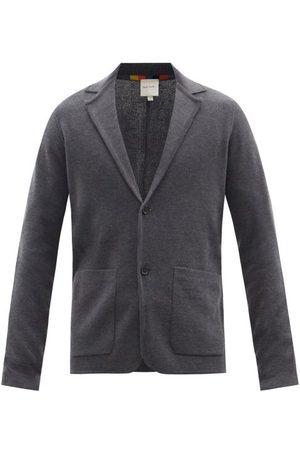Paul Smith Artist-stripe Wool Knit Blazer - Mens - Dark Grey