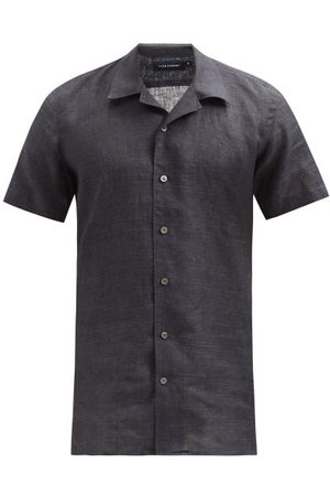 Thom Sweeney - Cuban-collar Linen Shirt - Mens - Dark Grey