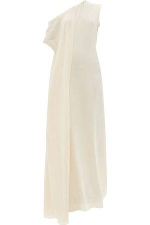 Women Asymmetrical Dresses - Petar Petrov - Aman Asymmetric Silk-crepe Dress - Womens - Ivory