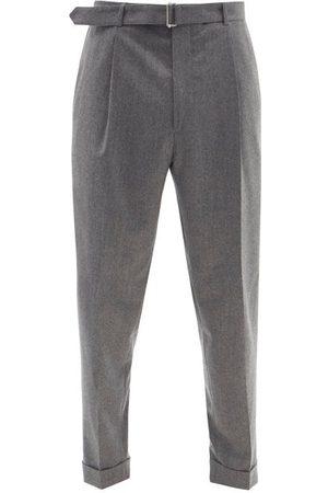OFFICINE GENERALE Hugo Belted Wool-fresco Trousers - Mens - Grey