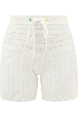 Staud - Arden Cable-knit Cotton-blend Shorts - Womens - Ivory