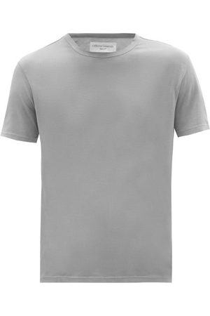 OFFICINE GENERALE Crew-neck Pigment-dyed Jersey T-shirt - Mens - Grey