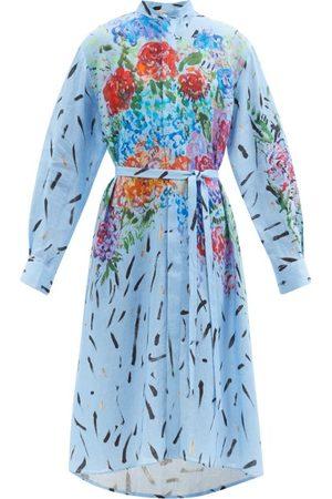 Christopher Kane - Floral Paint-print Linen Shirt Dress - Womens - Multi