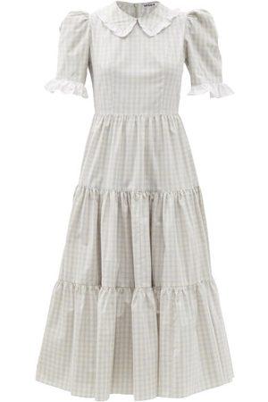 BATSHEVA Women Midi Dresses - Lucy Checked Cotton-poplin Midi Dress - Womens - Grey