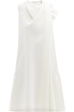 Roksanda - Selena Draped-front Crepe Dress - Womens - Ivory Multi
