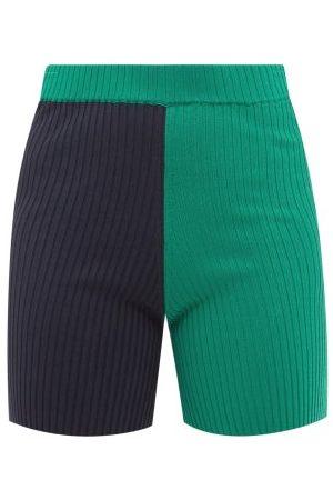 Women Shorts - Staud - Maki High-rise Colour-block Ribbed Cycling Shorts - Womens - Navy