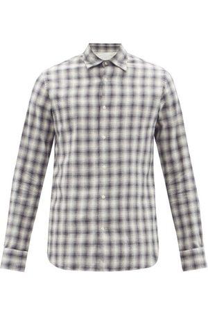 Officine Générale - Giacomo Checked Organic-cotton Blend Shirt - Mens - Grey