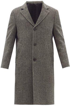 OFFICINE GENERALE Men Coats - Jack Single-breasted Wool-herringbone Overcoat - Mens - Grey