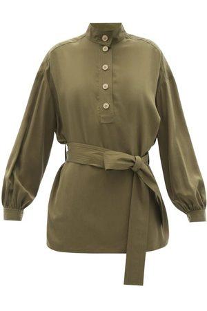 Vika 2.0 - Belted Tencel-blend Crepe Shirt - Womens - Khaki