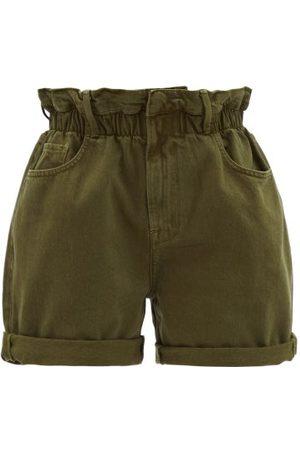 Frame - Rolled-cuffs Denim Shorts - Womens - Dark