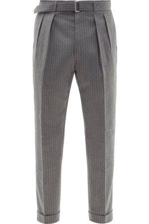 OFFICINE GENERALE Pierre Belted Pinstriped Wool-fresco Suit Trousers - Mens - Grey