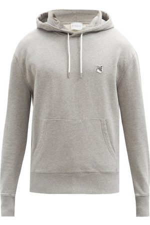 Men Sweatshirts - Maison Kitsuné - Fox Head-patch Cotton-jersey Hooded Sweatshirt - Mens - Grey