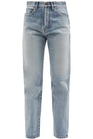 Saint Laurent Distressed High-rise Slim-leg Jeans - Womens - Light Denim