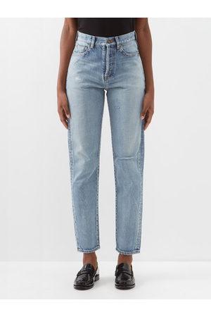 Saint Laurent Women High Waisted - Distressed High-rise Slim-leg Jeans - Womens - Light Denim