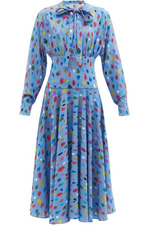 Women Printed Dresses - Christopher Kane - Paint-print Crepe De Chine Dress - Womens - Light