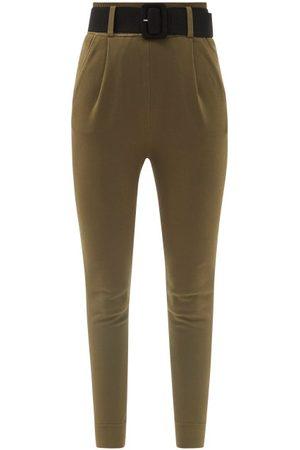 Self-Portrait Portrait - Belted High-rise Jersey Track Pants - Womens - Khaki