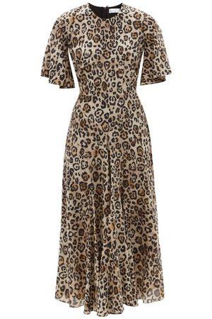 Women Printed Dresses - Raey - Godet-pleat Short-sleeve Silk Dress - Womens - Leopard
