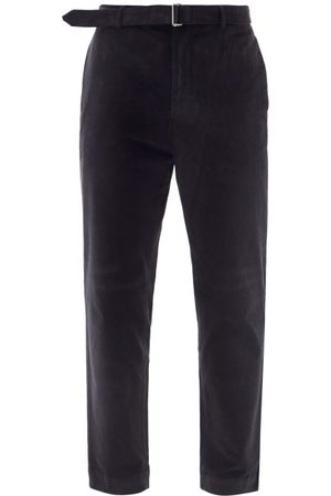 OFFICINE GENERALE Owen Belted Cotton-blend Corduroy Trousers - Mens - Navy