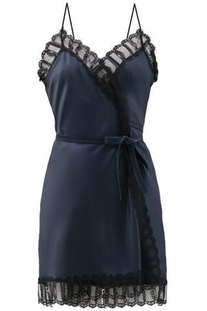 Women Casual Dresses - Eres X Julie De Libran - Jane Lace-trimmed Silk-satin Mini Slip Dress - Womens - Navy/