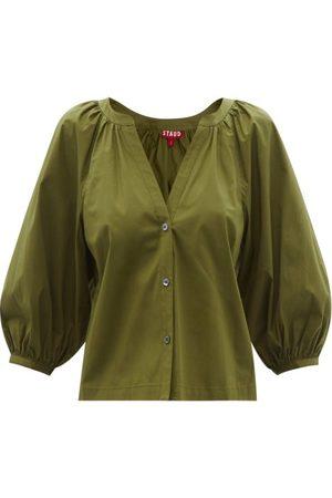 Women Blouses - Staud - Dill V-neck Cotton-blend Poplin Blouse - Womens - Khaki