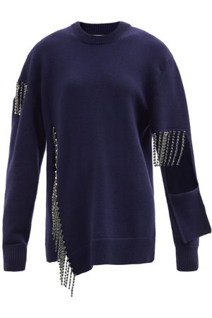 Christopher Kane - Crystal-fringe Cut-out Wool Sweater - Womens - Navy