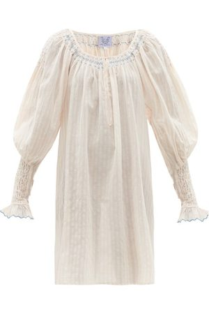 Thierry Colson - Valeska Balloon-sleeve Striped Cotton-voile Dress - Womens