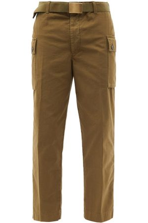 OFFICINE GENERALE Maxence Belted Cotton Trousers - Mens - Khaki