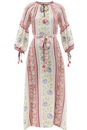 D'Ascoli - Alina Cross-stitch Print Silk Dress - Womens