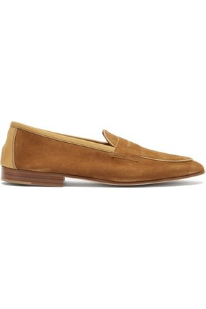 Edward Green - Polperro Leather-trimmed Suede Penny Loafers - Mens - Tan