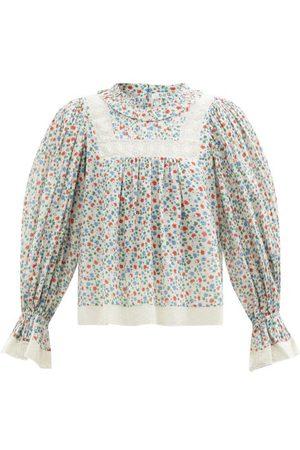 Women Blouses - Sea - Bubbie Balloon-sleeve Floral-print Cotton Blouse - Womens - Multi