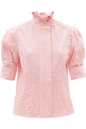 Thierry Colson - Vita Gigot-sleeve Crinkle Stripe Cotton Blouse - Womens - Stripe