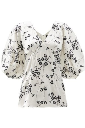 Julie De Libran - Gilda Puffed-sleeve Floral-print Silk Blouse - Womens