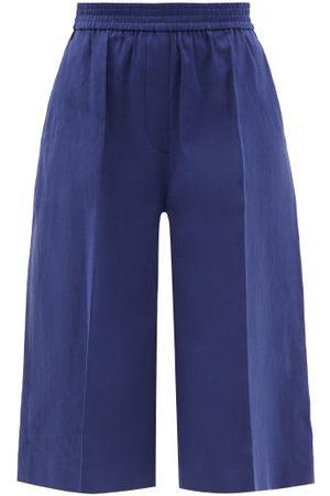 Joseph - Tan Linen-blend Twill Shorts - Womens - Navy