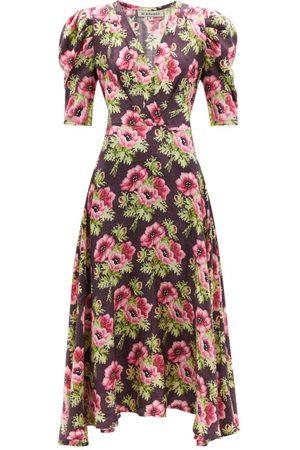 D'Ascoli - Agatha Floral-print Silk-twill Dress - Womens - Multi