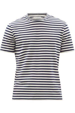 OFFICINE GENERALE Striped Cotton-jersey T-shirt - Mens - Navy
