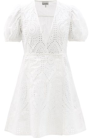 Ganni - Crossover Broderie-anglaise Organic-cotton Dress - Womens