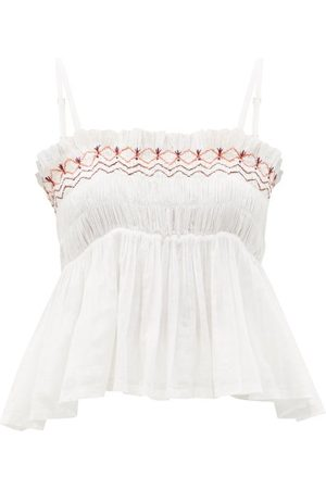 Anaak Rosa Embroidered Smocked Cotton-voile Top - Womens