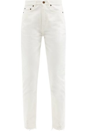Saint Laurent Women High Waisted - High-rise Distressed-cuff Cropped Jeans - Womens
