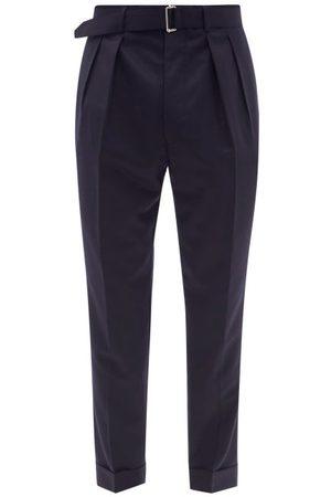OFFICINE GENERALE Pierre Double-pleat Belted Wool Suit Trousers - Mens - Navy
