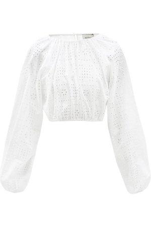 Women Blouses - Matteau - The Crochet Broderie Cropped Organic-cotton Blouse - Womens