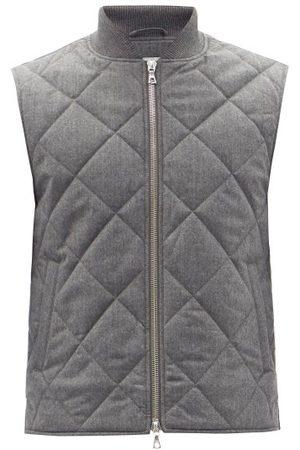 Officine Générale - Dave Quilted Wool-blend Flannel Gilet - Mens - Grey