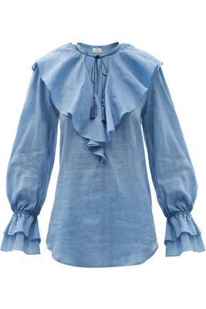 Women Blouses - Etro - Nashville Ruffled Cotton-blend Voile Blouse - Womens - Light