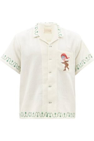 Harago - Cross-stitched Cotton Short-sleeved Shirt - Mens - Multi