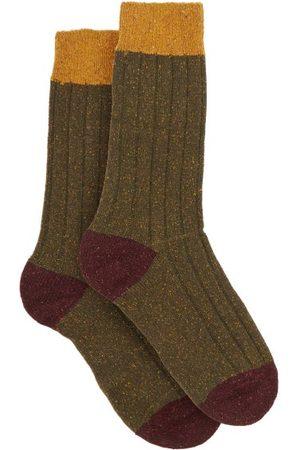 Pantherella Thornham Ribbed Socks - Mens - Khaki