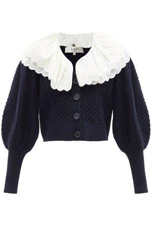 Sea - Melanie Removable-collar Puff-sleeve Wool Cardigan - Womens - Navy