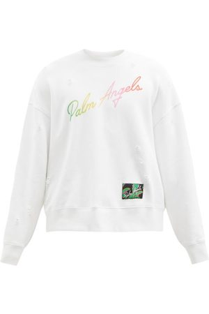 Men Sweatshirts - Palm Angels - Logo-print Cotton-jersey Sweatshirt - Mens - Multi