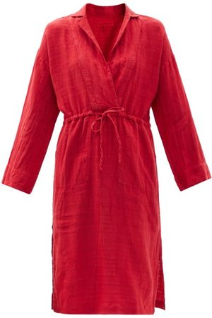 Women Casual Dresses - Mara Hoffman - Diega Drawstring Striped Linen-blend Shirt Dress - Womens