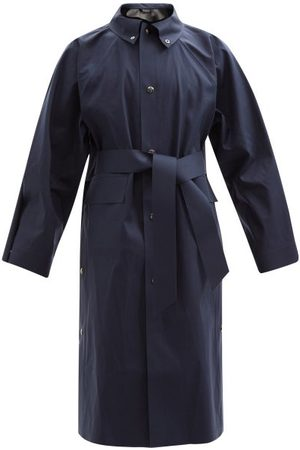 Kassl Editions Belted Cotton-blend Canvas Trench Coat - Mens - Navy